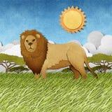 Leão feito do fundo de papel recicl Imagens de Stock Royalty Free