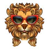 Leão glam com óculos de sol vermelhos ilustração royalty free