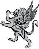 Leão heráldico do símbolo com asas Fotos de Stock
