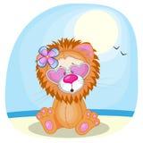 Leão na praia Fotografia de Stock