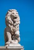 Leão que olha sobre Budapest Fotos de Stock Royalty Free