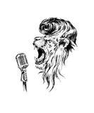Leão realístico tirado mão do rock&roll do vetor Foto de Stock Royalty Free