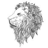 Leão A tatuagem de Mehndi rabisca o estilo Fotos de Stock