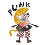 Leão tirado mão no estilo do punk rock Cartaz criançola Ilustração bonito para crianças ilustração do vetor