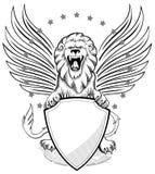 Leão voado rujir com insígnias do protetor Imagens de Stock