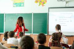 Leçon d'école en Ukraine photo stock