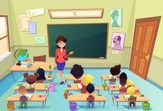 Leçon dans le vecteur de bande dessinée d'école primaire illustration de vecteur