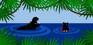 Leçon de natation d'hippopotame Image libre de droits