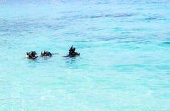 Leçon de plongée en mer image libre de droits