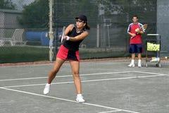 Leçon de tennis images stock