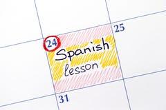 Leçon espagnole de rappel dans le calendrier Image stock