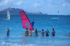 Leçon Windsurfing photos libres de droits