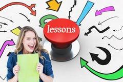 Leçons contre le bouton poussoir rouge digitalement produit photos stock