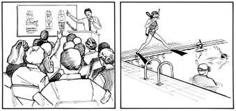 Leçons de scaphandre - regroupement et classe Image stock