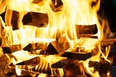 Leña ardiente Fotografía de archivo libre de regalías