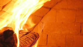 Leña ardiente en el primer de la chimenea, los registros que brillan intensamente, el fuego y las llamas almacen de video