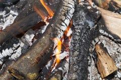 Leña ardiente en fuego Fotografía de archivo