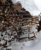 Leña bajo nieve Foto de archivo