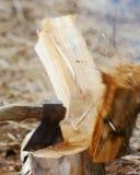 Leña de la tajada para el fuego en madera Imagen de archivo libre de regalías