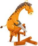 Leña del corte de la jirafa de la historieta ilustración del vector