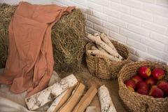 Leña del heno y del abedul, una cesta de manzanas dentro Fotos de archivo libres de regalías