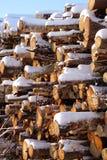 Leña empilada en nieve del invierno Fotografía de archivo libre de regalías