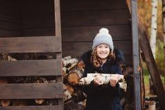 Leña feliz de la cosecha de la muchacha del niño de la vertiente en invierno Imágenes de archivo libres de regalías