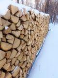 Leña nevada Imágenes de archivo libres de regalías