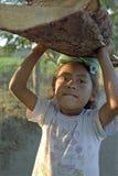 Leña que lleva de la pequeña muchacha del Latino del retrato en la cabeza Foto de archivo libre de regalías