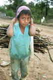 Leña que lleva del pequeño muchacho del Latino del retrato en la cabeza Imagenes de archivo