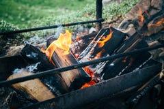 Leña que quema dentro del brasero del metal Preparación para cocinar la barbacoa afuera, verano Imagenes de archivo