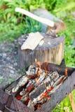 Leña que quema en brasero viejo Fotos de archivo libres de regalías