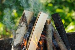 Leña que quema en fuego Imagen de archivo libre de regalías