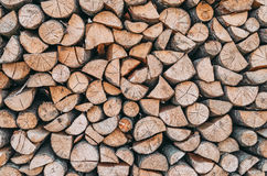 Leña, woodpile cerca de la textura de la madera Imágenes de archivo libres de regalías