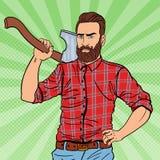 Leñador brutal del inconformista con la barba y el hacha Trabajador del leñador Ejemplo del vintage del arte pop stock de ilustración