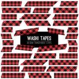 Leñador Buffalo Plaid Red y tiras negras del vector de la cinta de Washi Fotos de archivo libres de regalías