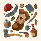 Leñador con la barba roja y su materia Imagen de archivo
