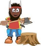 Leñador Holding Axe Cartoon stock de ilustración