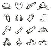 Leñador Icons Freehand Foto de archivo