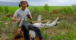 Leñador que se relaja en el tocón de árbol 4k metrajes