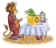 León asustado y el cocodrilo. Imagenes de archivo