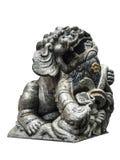 León chino de plata, fondo blanco Imágenes de archivo libres de regalías