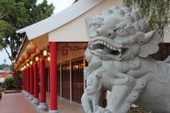 León chino del guarda en el público Foto de archivo