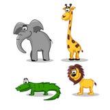 León, cocodrilo, jirafa y elefante divertidos Foto de archivo libre de regalías