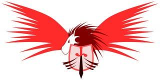 León con alas con el escudo y la espada stock de ilustración