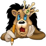 León con el lápiz ilustración del vector