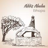 León de la estatua de Judah - Addis Ababa bosquejo Fotos de archivo libres de regalías