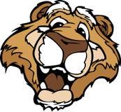León de montaña de la historieta o mascota sonriente del puma Foto de archivo libre de regalías