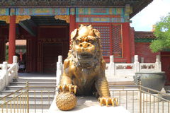 León de protección en China Imagen de archivo