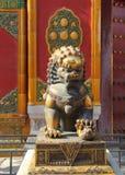 León de protección en China Foto de archivo libre de regalías